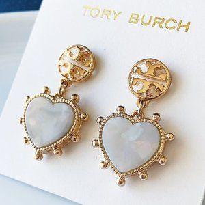 Tory Burch-pendant heart earrings